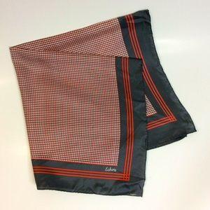Echo Dark Grey Red Check Square Silk Scarf